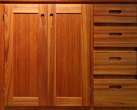 Detail Of The Fine Teak Cabinets.